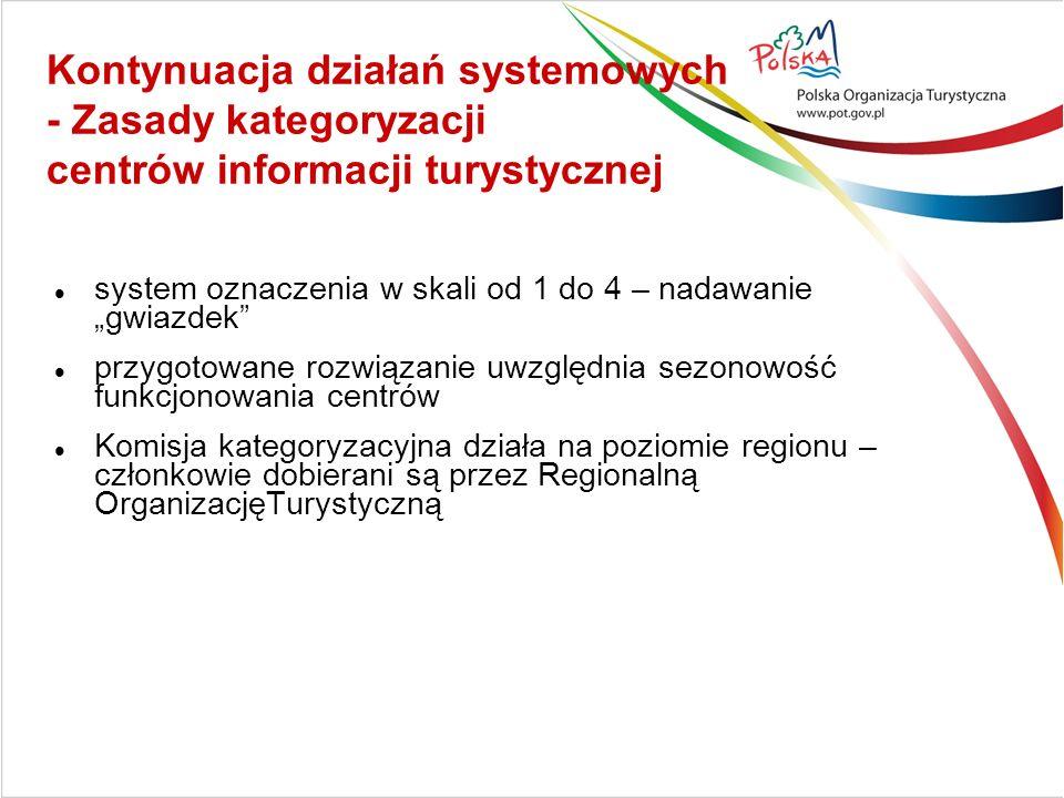 """Kontynuacja działań systemowych - Zasady kategoryzacji centrów informacji turystycznej system oznaczenia w skali od 1 do 4 – nadawanie """"gwiazdek przygotowane rozwiązanie uwzględnia sezonowość funkcjonowania centrów Komisja kategoryzacyjna działa na poziomie regionu – członkowie dobierani są przez Regionalną OrganizacjęTurystyczną"""