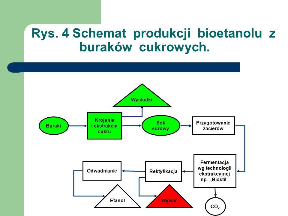 Rys. 4 Schemat produkcji bioetanolu z buraków cukrowych.
