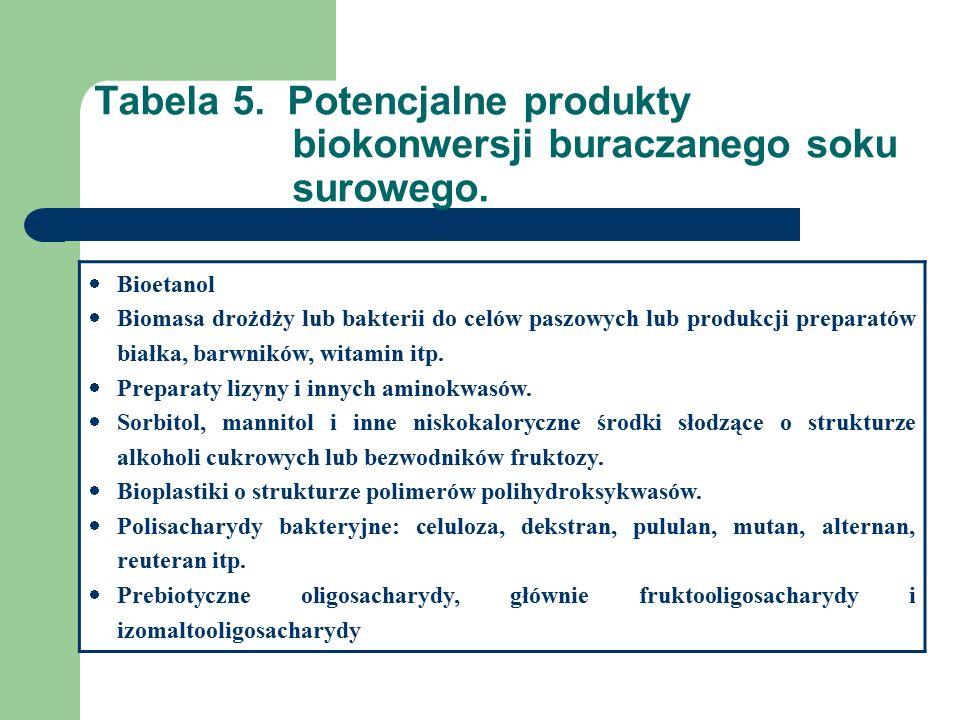 Tabela 5. Potencjalne produkty biokonwersji buraczanego soku surowego.