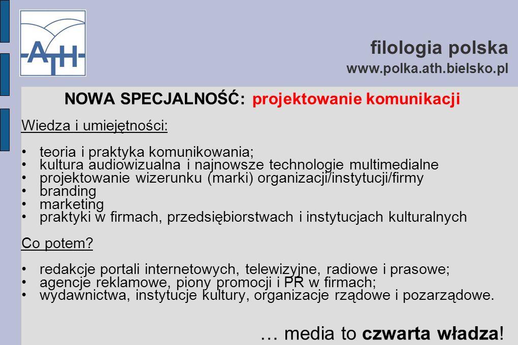 filologia polska www.polka.ath.bielsko.pl NOWA SPECJALNOŚĆ: projektowanie komunikacji Wiedza i umiejętności: teoria i praktyka komunikowania; kultura audiowizualna i najnowsze technologie multimedialne projektowanie wizerunku (marki) organizacji/instytucji/firmy branding marketing praktyki w firmach, przedsiębiorstwach i instytucjach kulturalnych Co potem.
