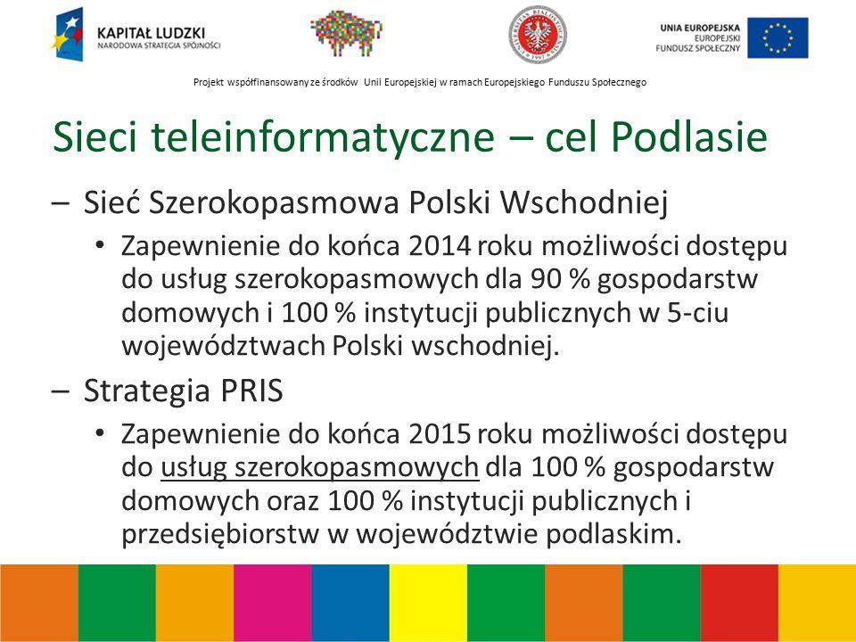 Projekt współfinansowany ze środków Unii Europejskiej w ramach Europejskiego Funduszu Społecznego Sieci teleinformatyczne – cel Podlasie –Sieć Szerokopasmowa Polski Wschodniej Zapewnienie do końca 2014 roku możliwości dostępu do usług szerokopasmowych dla 90 % gospodarstw domowych i 100 % instytucji publicznych w 5-ciu województwach Polski wschodniej.