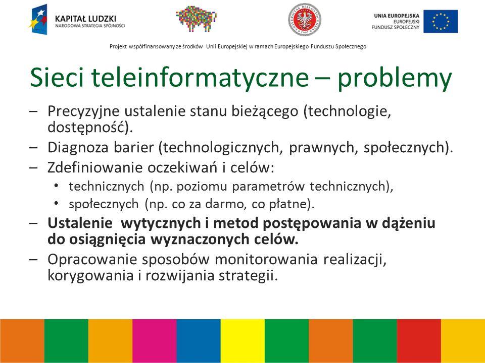 Projekt współfinansowany ze środków Unii Europejskiej w ramach Europejskiego Funduszu Społecznego Sieci teleinformatyczne – problemy –Precyzyjne ustalenie stanu bieżącego (technologie, dostępność).
