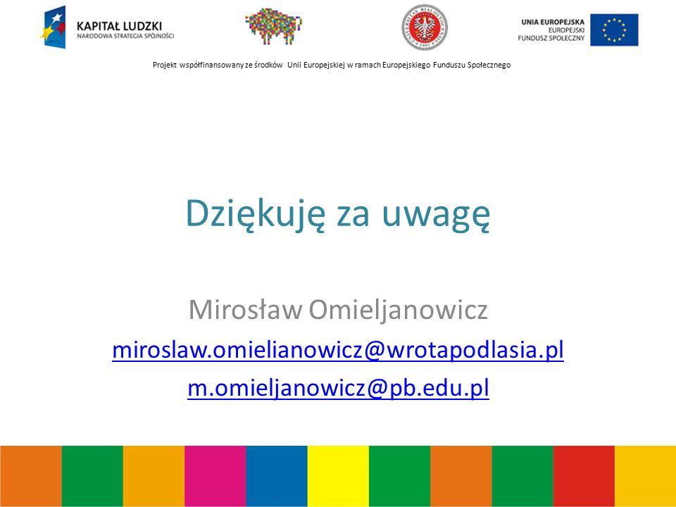 Projekt współfinansowany ze środków Unii Europejskiej w ramach Europejskiego Funduszu Społecznego Dziękuję za uwagę Mirosław Omieljanowicz miroslaw.omielianowicz@wrotapodlasia.pl m.omieljanowicz@pb.edu.pl
