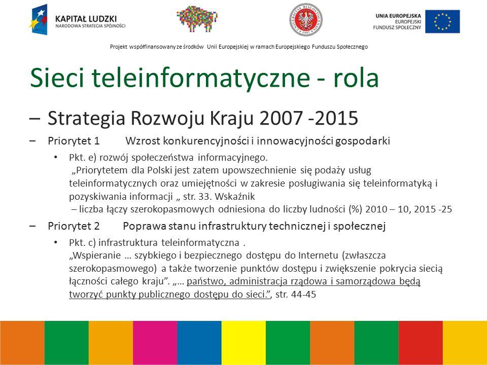 Projekt współfinansowany ze środków Unii Europejskiej w ramach Europejskiego Funduszu Społecznego Sieci teleinformatyczne - rola –Strategia Rozwoju Kraju 2007 -2015 –Priorytet 1 Wzrost konkurencyjności i innowacyjności gospodarki Pkt.