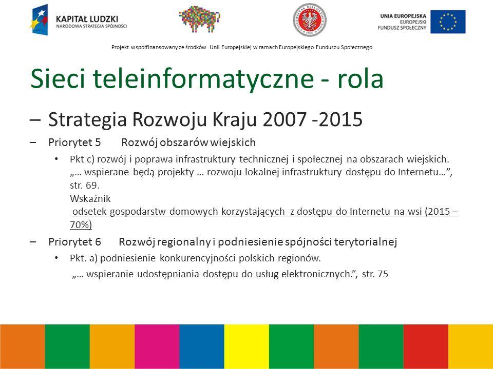 Projekt współfinansowany ze środków Unii Europejskiej w ramach Europejskiego Funduszu Społecznego Sieci teleinformatyczne - rola –Strategia Rozwoju Kraju 2007 -2015 –Priorytet 5 Rozwój obszarów wiejskich Pkt c) rozwój i poprawa infrastruktury technicznej i społecznej na obszarach wiejskich.