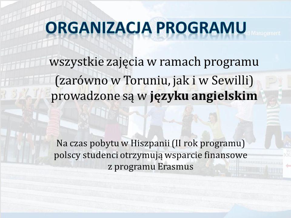 wszystkie zajęcia w ramach programu (zarówno w Toruniu, jak i w Sewilli) prowadzone są w języku angielskim Na czas pobytu w Hiszpanii (II rok programu) polscy studenci otrzymują wsparcie finansowe z programu Erasmus