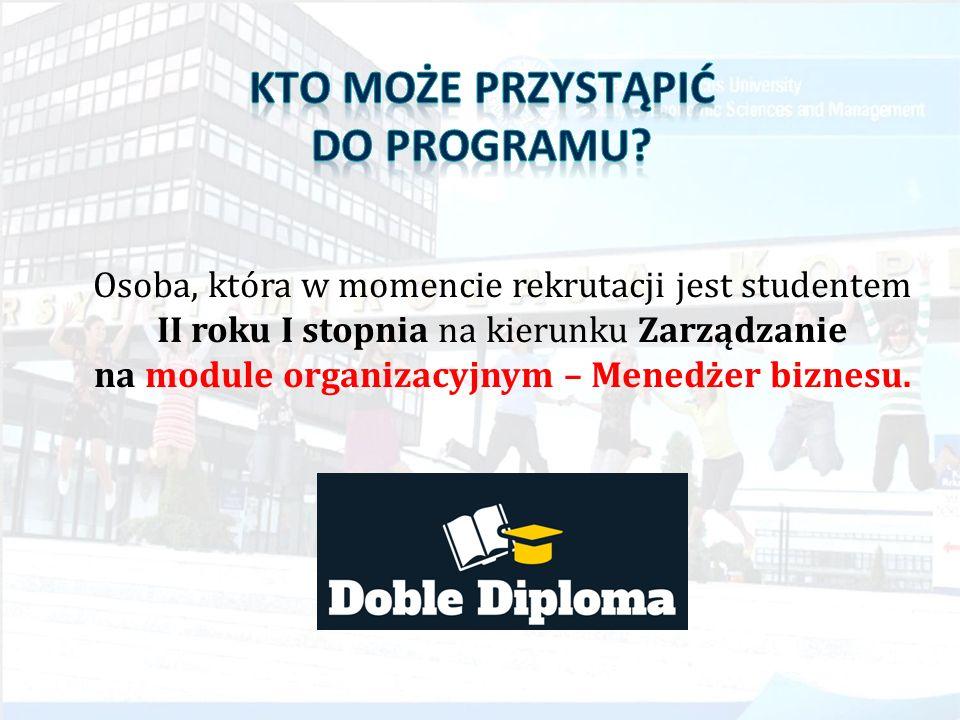 Osoba, która w momencie rekrutacji jest studentem II roku I stopnia na kierunku Zarządzanie na module organizacyjnym – Menedżer biznesu.
