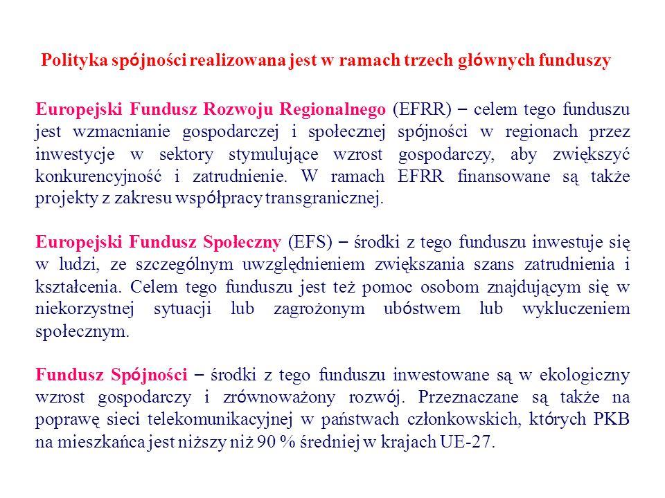 Polityka sp ó jności realizowana jest w ramach trzech gł ó wnych funduszy Europejski Fundusz Rozwoju Regionalnego (EFRR) – celem tego funduszu jest wzmacnianie gospodarczej i społecznej sp ó jności w regionach przez inwestycje w sektory stymulujące wzrost gospodarczy, aby zwiększyć konkurencyjność i zatrudnienie.