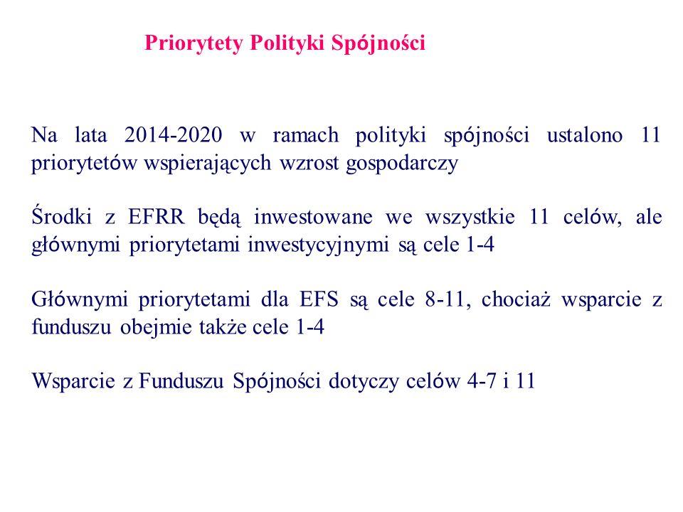 Priorytety Polityki Sp ó jności Na lata 2014-2020 w ramach polityki sp ó jności ustalono 11 priorytet ó w wspierających wzrost gospodarczy Środki z EFRR będą inwestowane we wszystkie 11 cel ó w, ale gł ó wnymi priorytetami inwestycyjnymi są cele 1-4 Gł ó wnymi priorytetami dla EFS są cele 8-11, chociaż wsparcie z funduszu obejmie także cele 1-4 Wsparcie z Funduszu Sp ó jności dotyczy cel ó w 4-7 i 11
