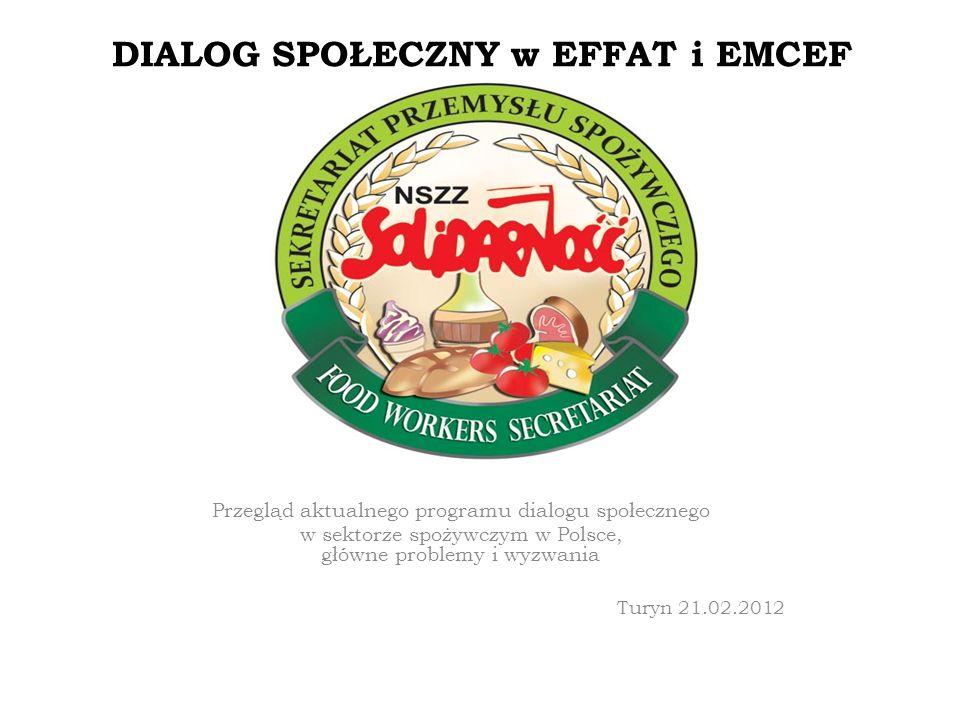 DIALOG SPOŁECZNY w EFFAT i EMCEF Przegląd aktualnego programu dialogu społecznego w sektorze spożywczym w Polsce, główne problemy i wyzwania Turyn 21.02.2012