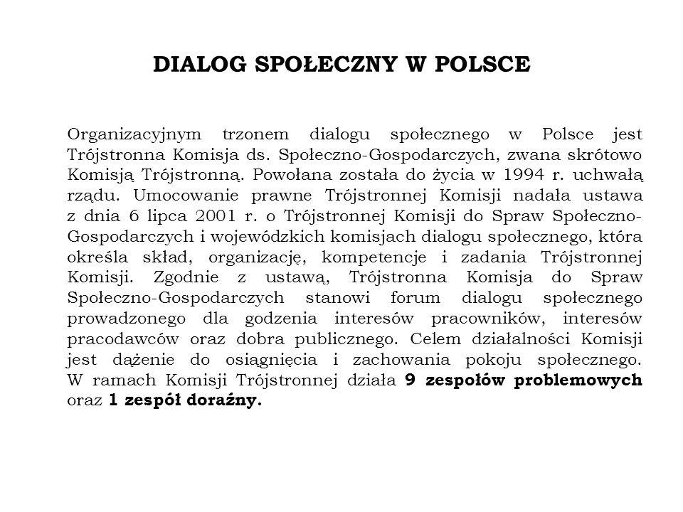 DIALOG SPOŁECZNY W POLSCE Organizacyjnym trzonem dialogu społecznego w Polsce jest Trójstronna Komisja ds.