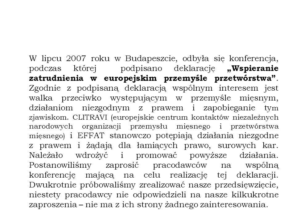 """W lipcu 2007 roku w Budapeszcie, odbyła się konferencja, podczas której podpisano deklarację """"Wspieranie zatrudnienia w europejskim przemyśle przetwórstwa ."""