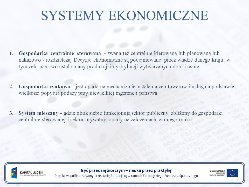 Być przedsiębiorczym – nauka przez praktykę Projekt współfinansowany przez Unię Europejską w ramach Europejskiego Funduszu Społecznego SYSTEMY EKONOMICZNE 1.Gospodarka centralnie sterowana - zwana też centralnie kierowaną lub planowaną lub nakazowo - rozdzielczą.