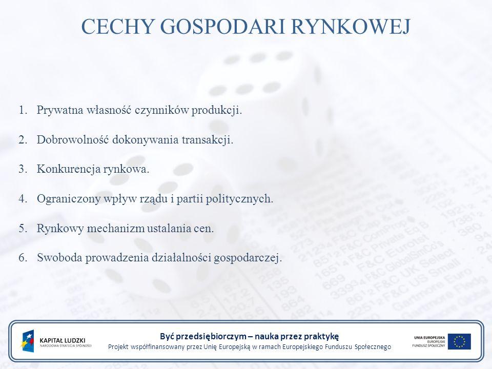 Być przedsiębiorczym – nauka przez praktykę Projekt współfinansowany przez Unię Europejską w ramach Europejskiego Funduszu Społecznego CECHY GOSPODARI RYNKOWEJ 1.Prywatna własność czynników produkcji.