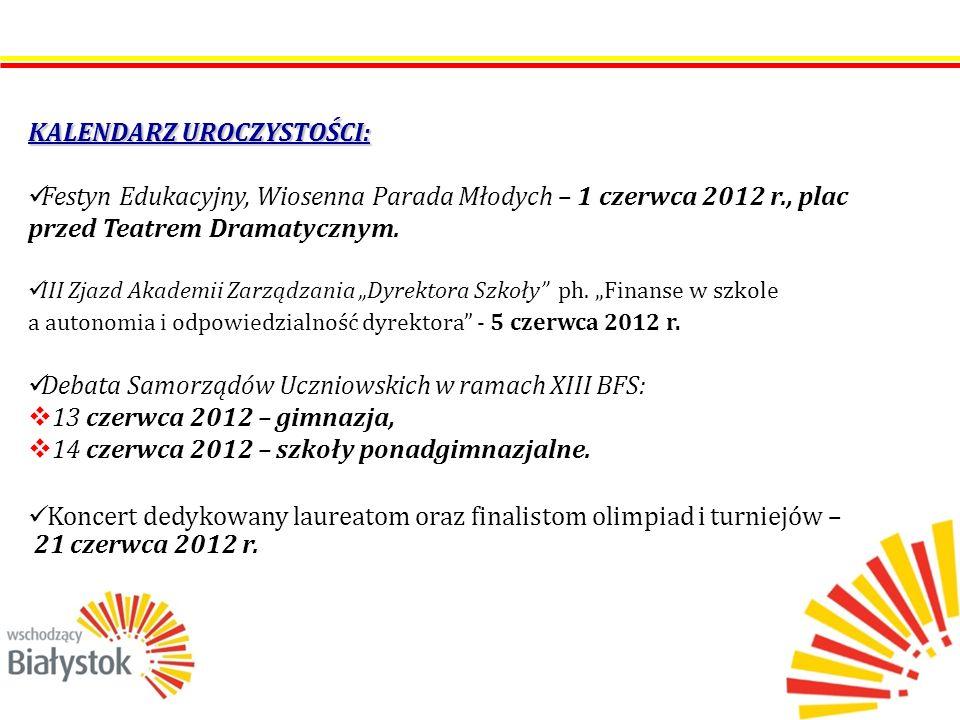 KALENDARZ UROCZYSTOŚCI: Festyn Edukacyjny, Wiosenna Parada Młodych – 1 czerwca 2012 r., plac przed Teatrem Dramatycznym.