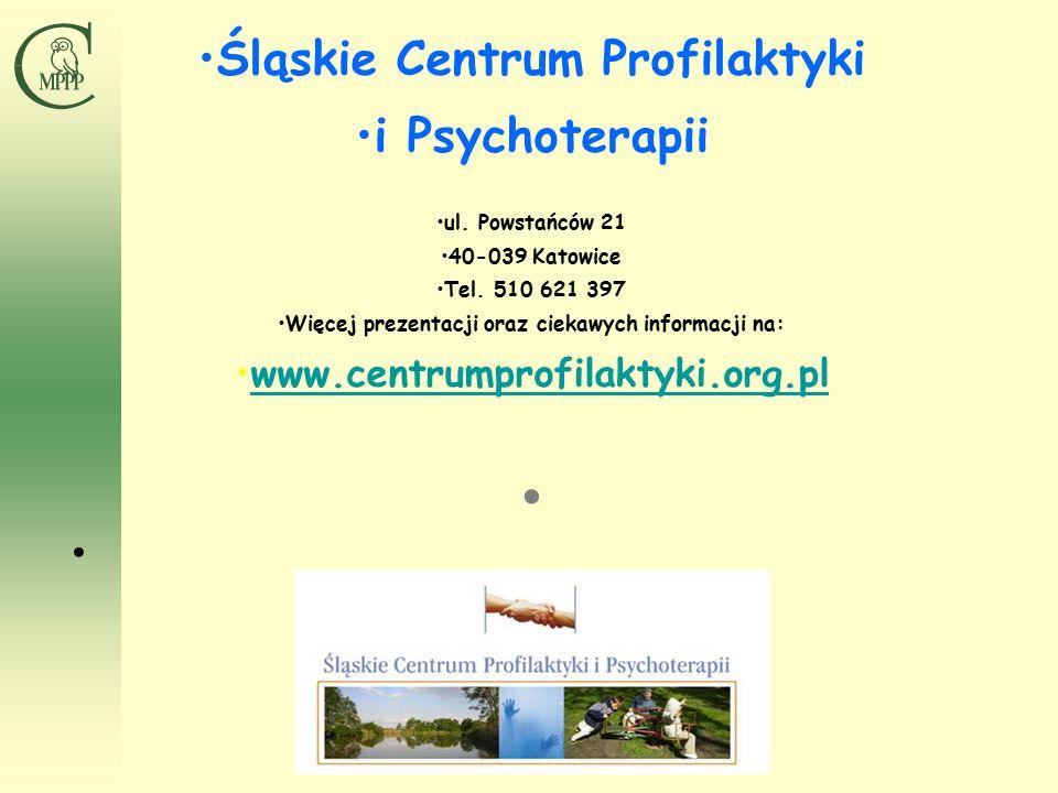 Śląskie Centrum Profilaktyki i Psychoterapii ul. Powstańców 21 40-039 Katowice Tel.