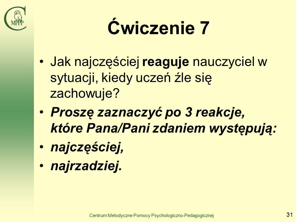 Centrum Metodyczne Pomocy Psychologiczno-Pedagogicznej 31 Ćwiczenie 7 Jak najczęściej reaguje nauczyciel w sytuacji, kiedy uczeń źle się zachowuje.