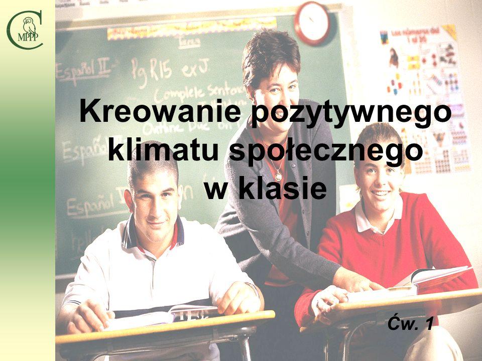 Centrum Metodyczne Pomocy Psychologiczno-Pedagogicznej 5 Kreowanie pozytywnego klimatu społecznego w klasie Ćw.