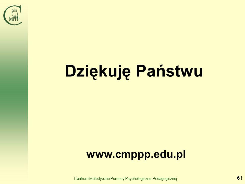 Centrum Metodyczne Pomocy Psychologiczno-Pedagogicznej 61 Dziękuję Państwu www.cmppp.edu.pl