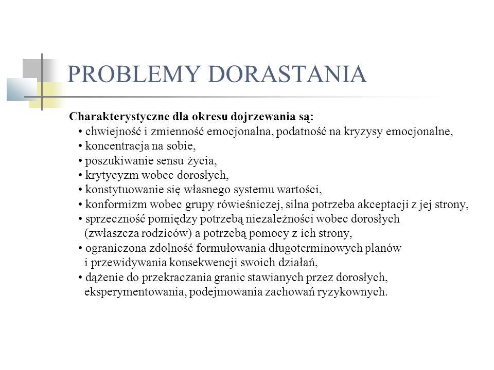 PROBLEMY DORASTANIA Charakterystyczne dla okresu dojrzewania są: chwiejność i zmienność emocjonalna, podatność na kryzysy emocjonalne, koncentracja na