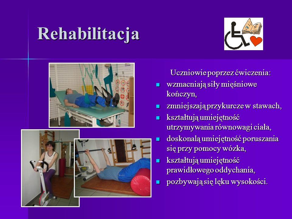 Rehabilitacja Uczniowie poprzez ćwiczenia: wzmacniają siły mięśniowe kończyn, wzmacniają siły mięśniowe kończyn, zmniejszają przykurcze w stawach, zmniejszają przykurcze w stawach, kształtują umiejętność utrzymywania równowagi ciała, kształtują umiejętność utrzymywania równowagi ciała, doskonalą umiejętność poruszania się przy pomocy wózka, doskonalą umiejętność poruszania się przy pomocy wózka, kształtują umiejętność prawidłowego oddychania, kształtują umiejętność prawidłowego oddychania, pozbywają się lęku wysokości.