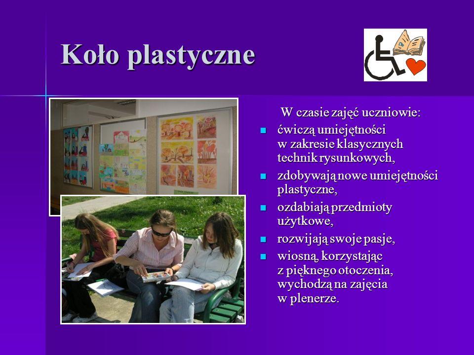 Koło plastyczne W czasie zajęć uczniowie: ćwiczą umiejętności w zakresie klasycznych technik rysunkowych, ćwiczą umiejętności w zakresie klasycznych technik rysunkowych, zdobywają nowe umiejętności plastyczne, zdobywają nowe umiejętności plastyczne, ozdabiają przedmioty użytkowe, ozdabiają przedmioty użytkowe, rozwijają swoje pasje, rozwijają swoje pasje, wiosną, korzystając z pięknego otoczenia, wychodzą na zajęcia w plenerze.