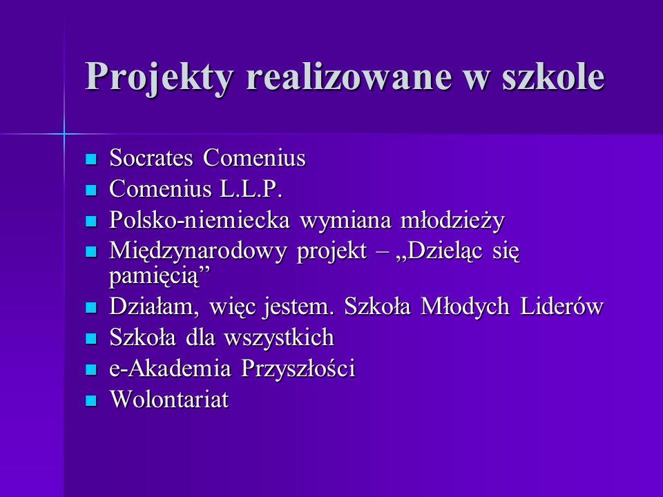Projekty realizowane w szkole Socrates Comenius Socrates Comenius Comenius L.L.P. Comenius L.L.P. Polsko-niemiecka wymiana młodzieży Polsko-niemiecka