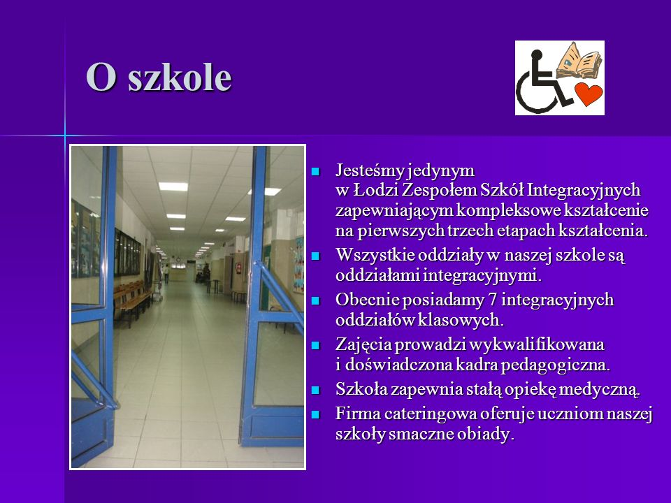 O szkole Jesteśmy jedynym w Łodzi Zespołem Szkół Integracyjnych zapewniającym kompleksowe kształcenie na pierwszych trzech etapach kształcenia.