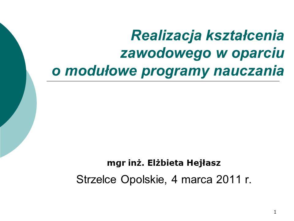 1 Realizacja kształcenia zawodowego w oparciu o modułowe programy nauczania mgr inż. Elżbieta Hejłasz Strzelce Opolskie, 4 marca 2011 r.