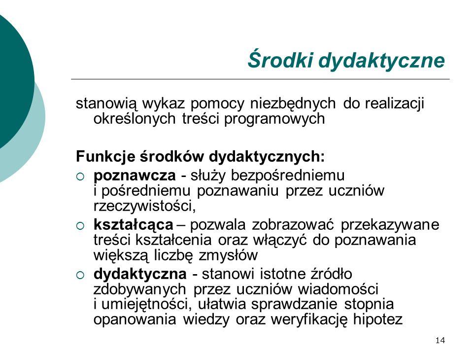 14 Środki dydaktyczne stanowią wykaz pomocy niezbędnych do realizacji określonych treści programowych Funkcje środków dydaktycznych:  poznawcza - słu