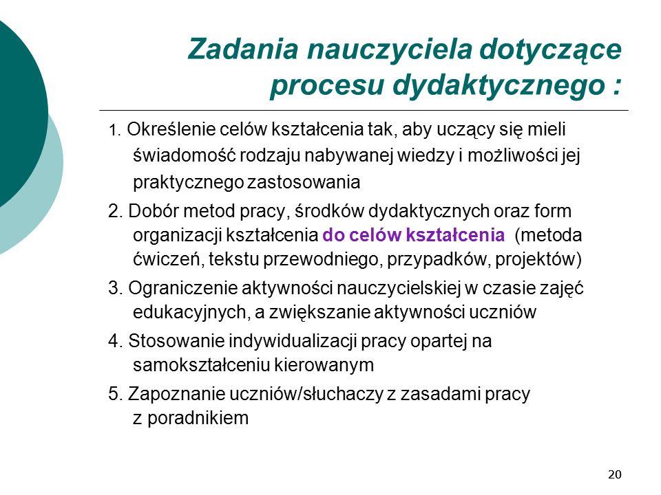 20 Zadania nauczyciela dotyczące procesu dydaktycznego : 1.