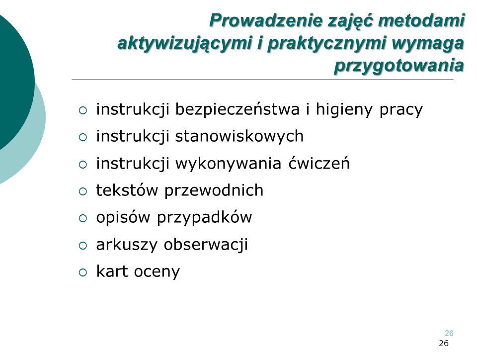 26  instrukcji bezpieczeństwa i higieny pracy  instrukcji stanowiskowych  instrukcji wykonywania ćwiczeń  tekstów przewodnich  opisów przypadków