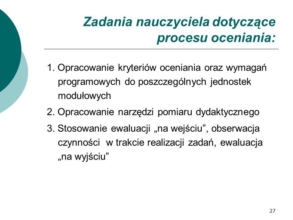 27 Zadania nauczyciela dotyczące procesu oceniania: 1.