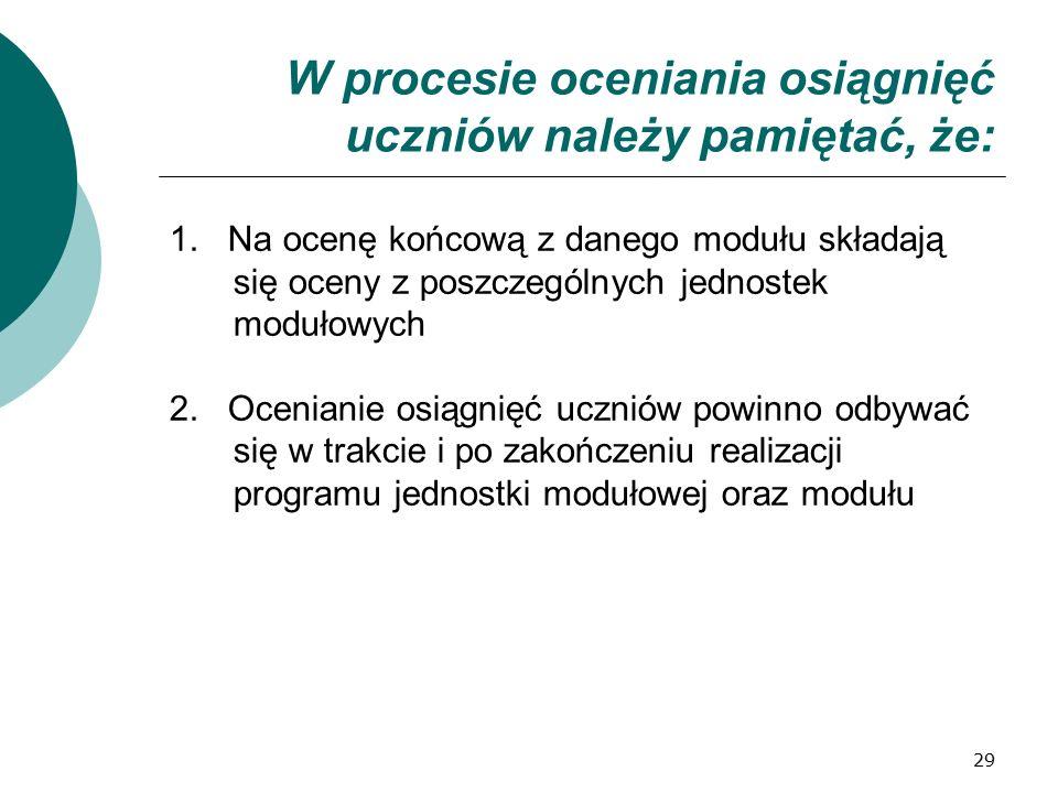 29 W procesie oceniania osiągnięć uczniów należy pamiętać, że: 1. Na ocenę końcową z danego modułu składają się oceny z poszczególnych jednostek moduł