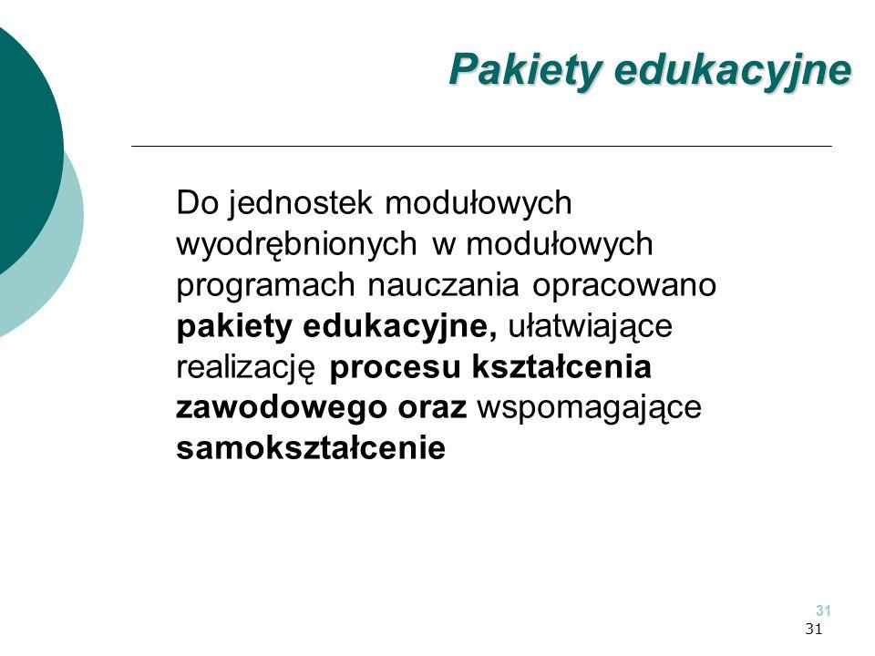 31 Do jednostek modułowych wyodrębnionych w modułowych programach nauczania opracowano pakiety edukacyjne, ułatwiające realizację procesu kształcenia zawodowego oraz wspomagające samokształcenie 31 Pakiety edukacyjne