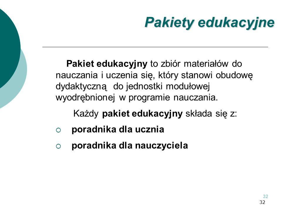 32 Pakiet edukacyjny to zbiór materiałów do nauczania i uczenia się, który stanowi obudowę dydaktyczną do jednostki modułowej wyodrębnionej w programie nauczania.