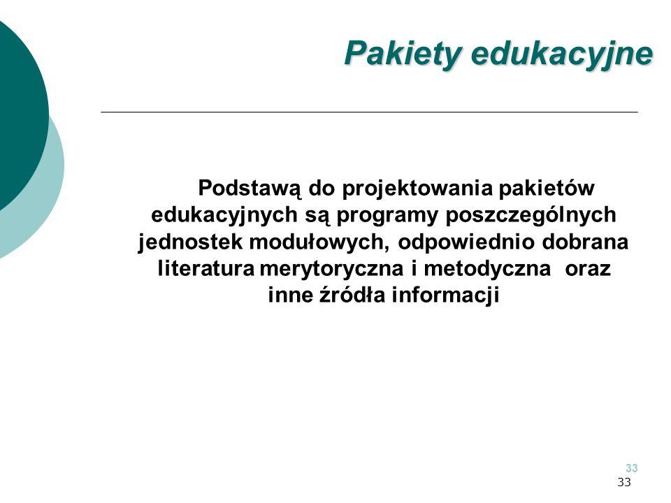 33 Podstawą do projektowania pakietów edukacyjnych są programy poszczególnych jednostek modułowych, odpowiednio dobrana literatura merytoryczna i metodyczna oraz inne źródła informacji 33 Pakiety edukacyjne