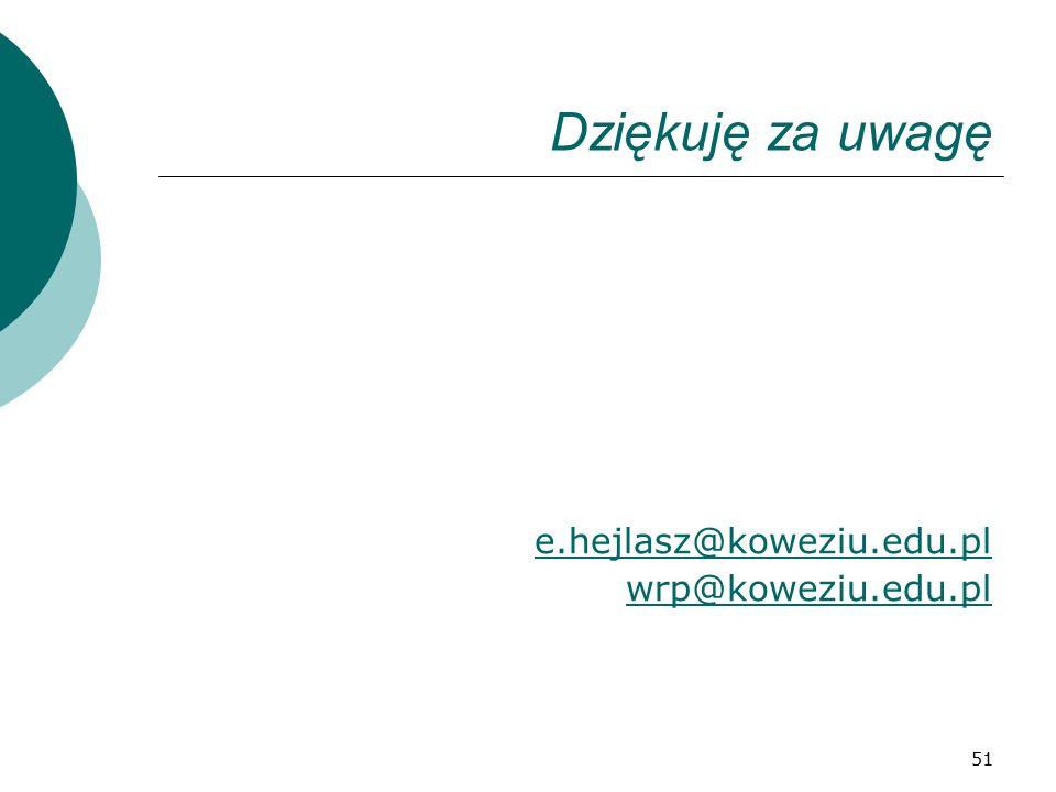 51 Dziękuję za uwagę e.hejlasz@koweziu.edu.pl wrp@koweziu.edu.pl