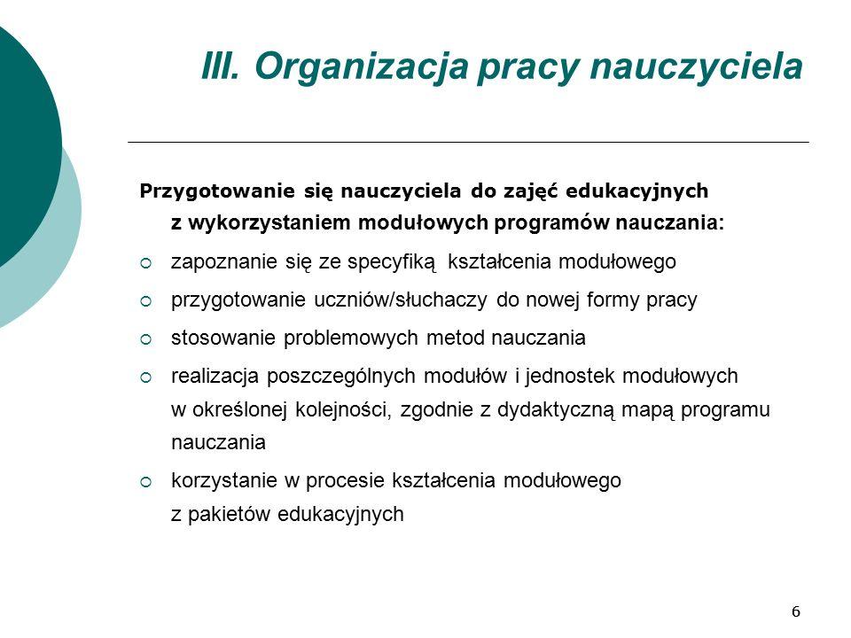 66 III. Organizacja pracy nauczyciela Przygotowanie się nauczyciela do zajęć edukacyjnych z wykorzystaniem modułowych programów nauczania:  zapoznani