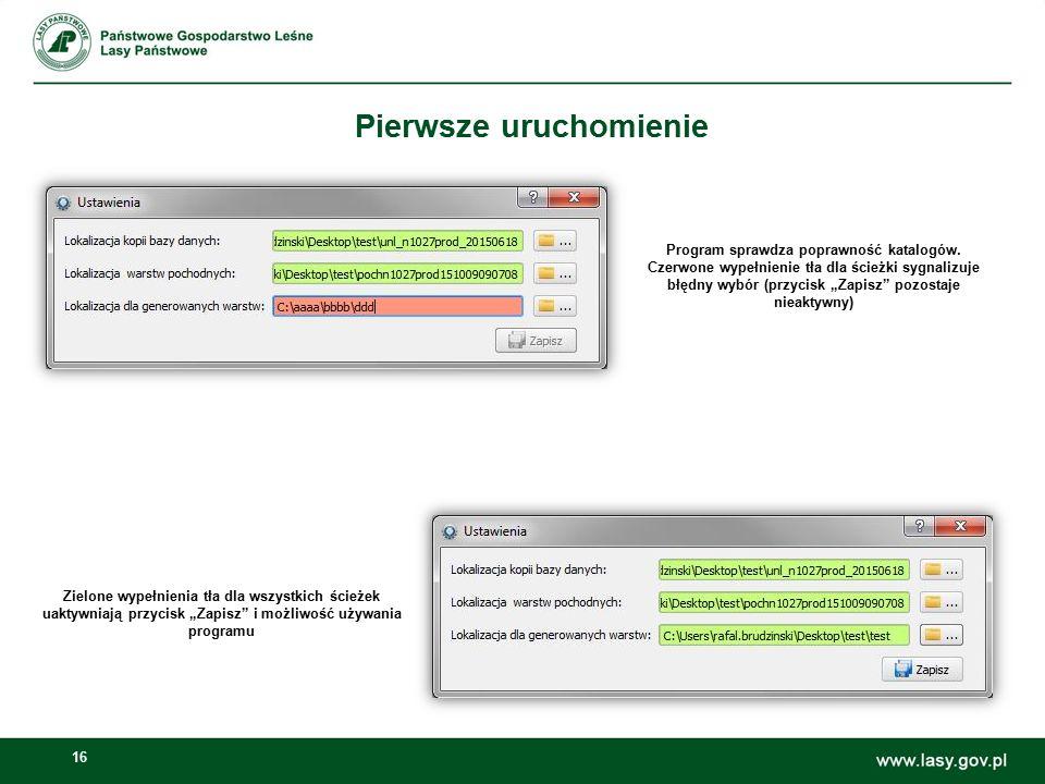 """16 Pierwsze uruchomienie Zielone wypełnienia tła dla wszystkich ścieżek uaktywniają przycisk """"Zapisz"""" i możliwość używania programu Program sprawdza p"""