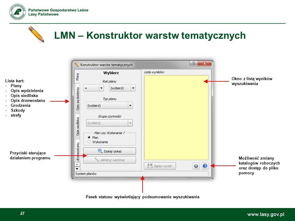 27 LMN – Konstruktor warstw tematycznych Lista kart: -Plany -Opis wydzielenia -Opis siedliska -Opis drzewostanu -Grodzenia -Szkody -strefy Okno z list