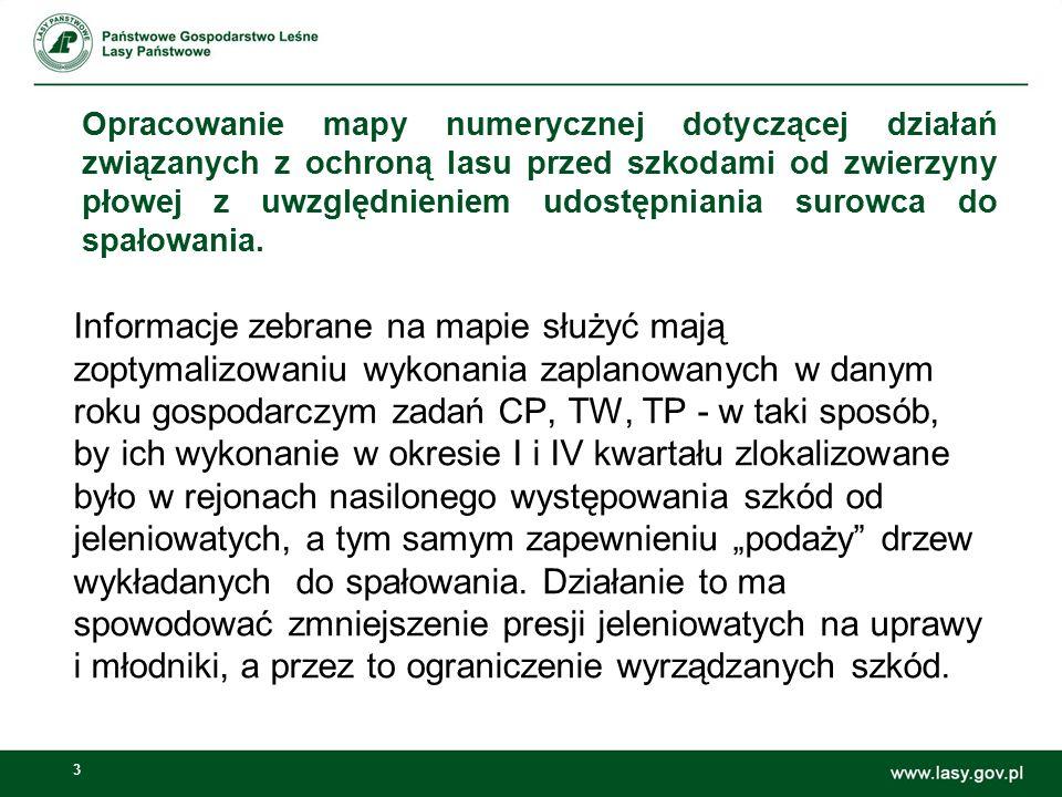 44 LMN – Przykłady wykorzystania Przykład 3 Wyznaczanie drzewostanów zagrożonych żerem chrabąszczy wg wytycznych Zespołu Ochrony Lasu: -Drzewostany z dębem, modrzewiem -Dębowe podsadzenia produkcyjne -Obszar o promieniu 6 km od stałych pędraczysk