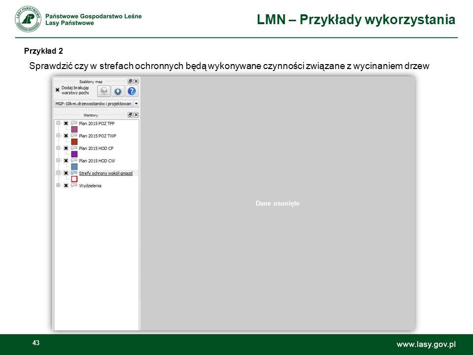 43 LMN – Przykłady wykorzystania Przykład 2 Sprawdzić czy w strefach ochronnych będą wykonywane czynności związane z wycinaniem drzew Dane usunięte