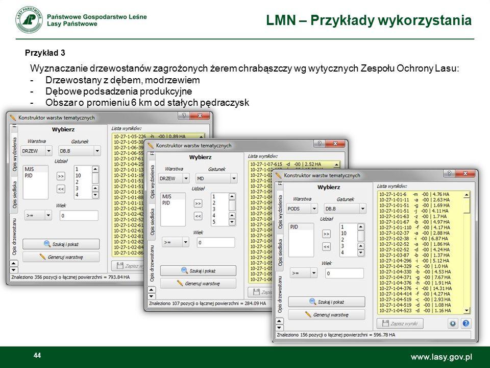 44 LMN – Przykłady wykorzystania Przykład 3 Wyznaczanie drzewostanów zagrożonych żerem chrabąszczy wg wytycznych Zespołu Ochrony Lasu: -Drzewostany z