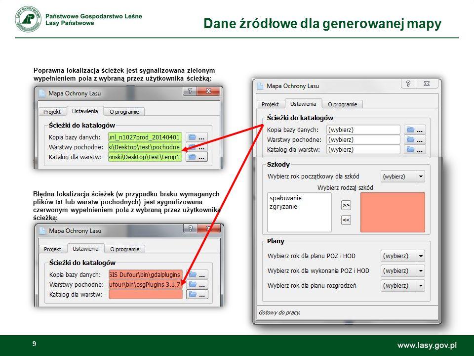 9 Poprawna lokalizacja ścieżek jest sygnalizowana zielonym wypełnieniem pola z wybraną przez użytkownika ścieżką: Błędna lokalizacja ścieżek (w przypa