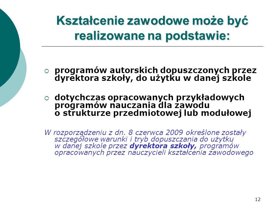 12 Kształcenie zawodowe może być realizowane na podstawie:  programów autorskich dopuszczonych przez dyrektora szkoły, do użytku w danej szkole  dot