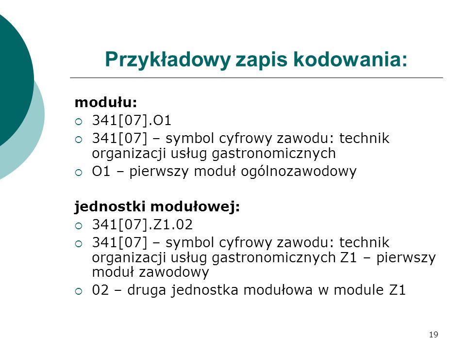 19 Przykładowy zapis kodowania: modułu:  341[07].O1  341[07] – symbol cyfrowy zawodu: technik organizacji usług gastronomicznych  O1 – pierwszy moduł ogólnozawodowy jednostki modułowej:  341[07].Z1.02  341[07] – symbol cyfrowy zawodu: technik organizacji usług gastronomicznych Z1 – pierwszy moduł zawodowy  02 – druga jednostka modułowa w module Z1