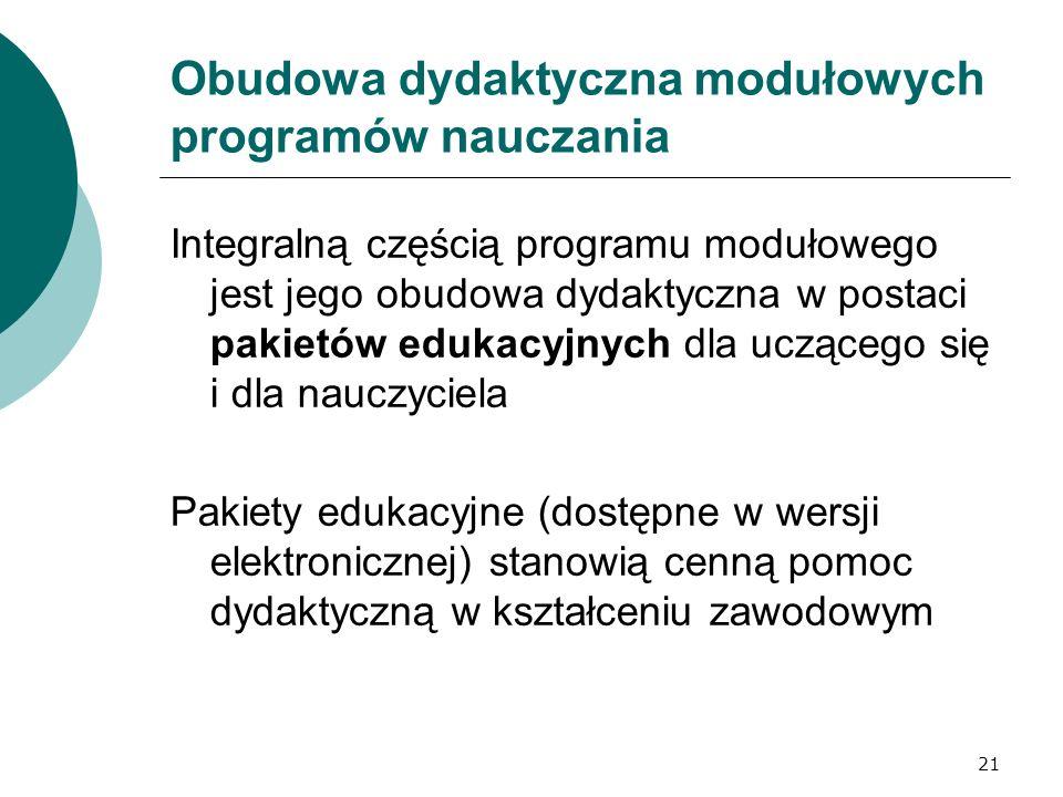 21 Obudowa dydaktyczna modułowych programów nauczania Integralną częścią programu modułowego jest jego obudowa dydaktyczna w postaci pakietów edukacyjnych dla uczącego się i dla nauczyciela Pakiety edukacyjne (dostępne w wersji elektronicznej) stanowią cenną pomoc dydaktyczną w kształceniu zawodowym
