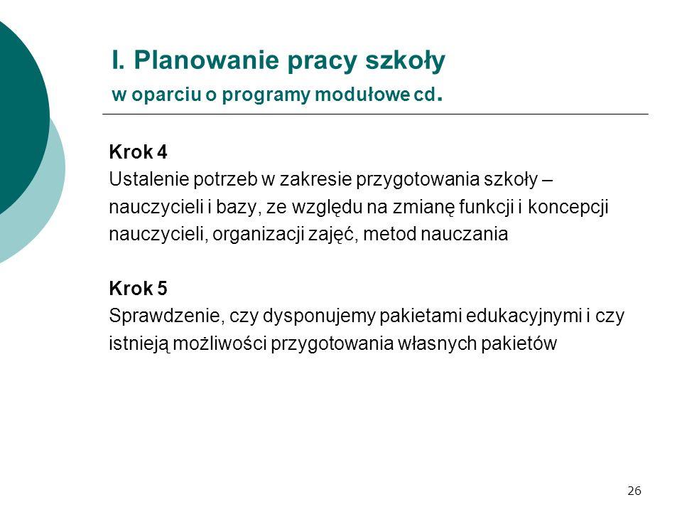 26 I. Planowanie pracy szkoły w oparciu o programy modułowe cd. Krok 4 Ustalenie potrzeb w zakresie przygotowania szkoły – nauczycieli i bazy, ze wzgl