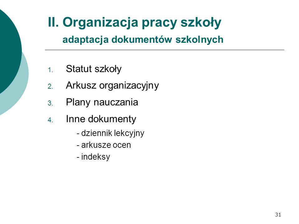 31 II. Organizacja pracy szkoły adaptacja dokumentów szkolnych 1. Statut szkoły 2. Arkusz organizacyjny 3. Plany nauczania 4. Inne dokumenty - dzienni